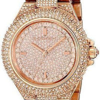 NEW Michael Kors MK5862 Women's CAMILLE Rose Gold Pave Crystal Glitz Round Watch