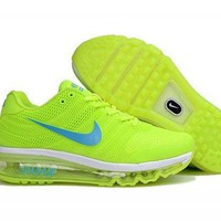 PEAPONNF1 Nike Air Max 2017.  Volt Yellow, White & Light Blue. Women's Running Shoes