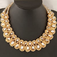 Statement necklace 2016 Fashion Women Hand-woven Big chunky Gold Chain Crystal Bead collar Choker Necklaces & Pendants Bijoux