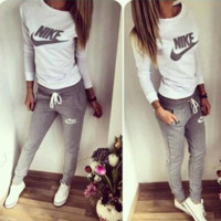 """NIKE"" Fashion Casual Letter Print Round Neck Long Sleeve Set Two-Piece Sportswear"