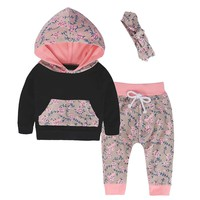2017 Autumn Babies Girl Clothes Set Newborn Baby Girls Floral Hoodies Top+Pants+Headband 3Pcs Set Boutique Girls Hooded Clothing