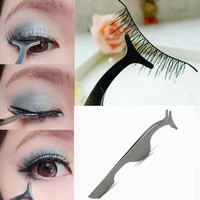 False Eyelashes Extension Applicator Remover Clip Tweezer Nipper Makeup Tool (Color: Silver) = 1697508164