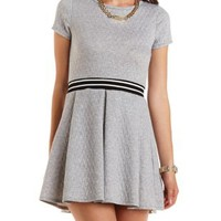 Quilted Sporty-Striped Skater Dress by Charlotte Russe