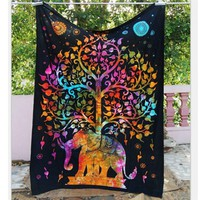 Indian Mandala Tapestry Throw Hippie Tapestry Hanging Printed Decorative Wall Tapestries Bright Color Bedding/Living Room T35