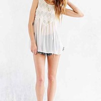 Ecote Woven-Accent Tunic Top-