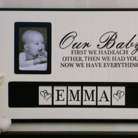 Personalized Baby Name Picture Frame, Custom Children Photo Frame,  Baby Shower Gift, Christening, New Parents Gift - Black