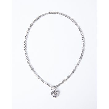 Heart On Lock Chain Necklace
