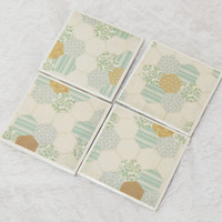 Country Tile Coaster Set in Quilted Hexagon Print with Foamed Backs (4) Dishwasher Safe