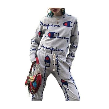 Champion Fashion Trending Casual Women Men Long Sleeve Round Neck Print Long pants Two Piece Set