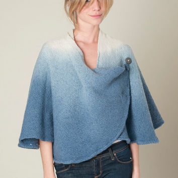 Poncho Cape - Handwoven ombre dyed in merino wool - Blue warm cape by Texturable