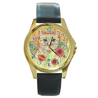 Cat and Flowers on a Gold Tone Watch w/ Leather Bands