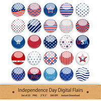 Independence Day Flair Scrapbook Embellishment Clipart America Digital Flair Buttons Red White and Blue Stars Stripes American Flag Badge