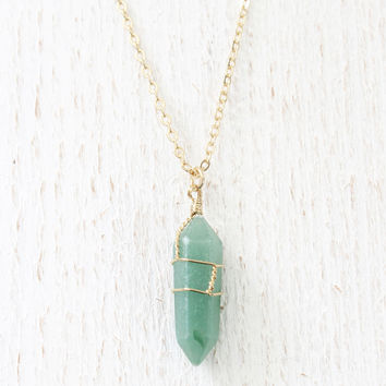 Jade Wire Wrapped Necklace