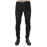 streetwear pants2017 new men's jeans ripped jeans for men skinny Distressed slim famous brand designer biker hip hop swag black