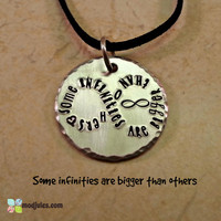 "The Fault in Our Stars Jewelry, TFIOS Necklace, Hand Stamped Silver Aluminum ""Some Infinities are Bigger than Others,"" Fan Gift, Book Quote"