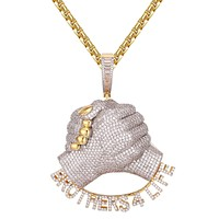 Gold Tone Brothers for Life Fist Bond Icy Hip Hop Pendant