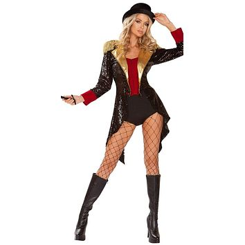 Sexy The Greatest Showman Sequin Collared Coat Costume