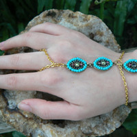 turquoise and gold slave bracelet bohemian hipster morrocan  gypsy boho tribal  hippie belly dancer styles