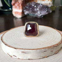 Stunning, Huge Red Rhodolite Garnet, Freeform and Faceted Gemstone in 14k Yellow Gold and .925 Sterling Silver, Statement Ring, Anniversary