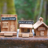 Set of Six Little Wood Buildings, Miniature Houses, Hand Made Miniature Village, Western Town Play Set, School, Rustic Wood Ghost Town