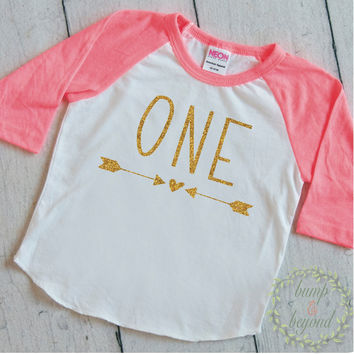Girl First Birthday Shirt 1st Birthday Girl Outfit Raglan Toddler Girl Clothes 1st Birthday Shirt 133