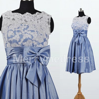 Lace Applique Crew V-neck Ruffled Bowknot Short Bridesmaid Celebrity Cocktail Dress,Taffeta Formal Evening Party Prom Homecoming Dress