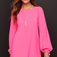 Perfect Situation Hot Pink Long Sleeve Shift Dress