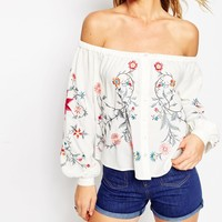 ASOS Off Shoulder Top with Floral Embroidery at asos.com