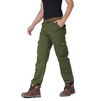 Autumn Cotton Men Cargo Pants Pockets Solid Black Khaki Army-green Long Male Casual Trousers Military Joggers Clothes