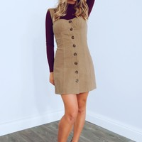 Keep Them Wondering Dress: Tan