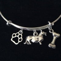 Corgi Dog Charm on a Silver Expandable Adjustable Bangle Bracelet Double Sided Charms Meaningful Dog Lover Gift