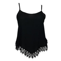 eVogues Apparel Plus size Asymmetric Lace Trimmed Spaghetti Strap Tank Top Black