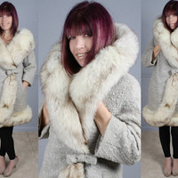 Vintage 60s Norwegian Blue Fox Fur and Bouclé Wool Coat S M