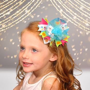 Girls Marabou Puff Layered Boutique Hair Bow