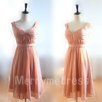 Ruffled Strapless Spaghetti Straps Empired Short Bridesmaid Celebrity Dress, Chiffon Formal Evening Party Prom Dress New Homecoming Dress