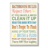 Stupell Industries Home Décor Bathroom Rules Typography Rubber Ducky Bath Textual Art Plaque