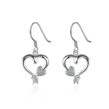 Fashion Graceful Zircon Heart Shape Drop Earrings Charm Jewelry Gift For Women