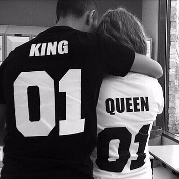 Valentine Shirts Woman Cotton King Queen 01 Funny Letter Print Couples Leisure T-shirt Man Tshirt O neck T-shirt Camisetas Mujer