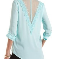 Lace-Back Chiffon Button-Up Top by Charlotte Russe