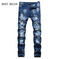 DANT BULUN Ripped Blue Jeans for Men Super Stretch Male Pants Distressed Casual Cotton Skinny Slim Fit  Men Jeans,TS105