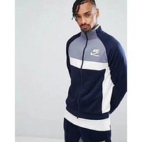Nike Newest Trending Men Women Stylish Stitching Color Long Sleeve High Collar Zipper Cardigan Sweatshirt Jacket Coat