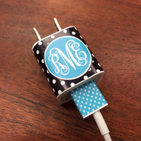 iphone or ipod Vine Monogram Charger and USB Wrap - Polka Dots - Customizable