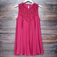 final sale - boho crochet lace dress - burgundy