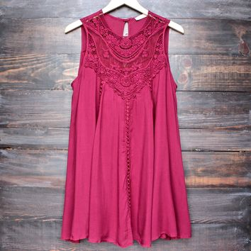 Final Sale - Boho Crochet Lace Dress in Burgundy