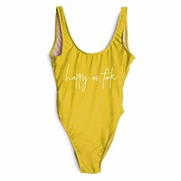 HAPPY AS SWIMSUITS Funny Letter 2017 women Yellow push up swimwears sexy One Pieces swimsuit bikinis high wait bathing suit