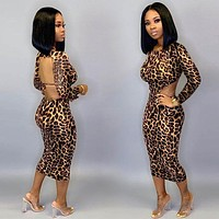 Women Sexy Leopard Print Backless Long Sleeve Fashion Dress