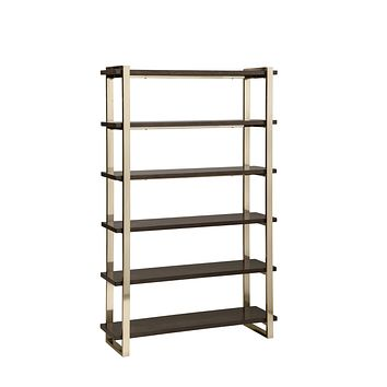 G804541 - Seymour 5-Tier Bookcase - Walnut And Rose Brass