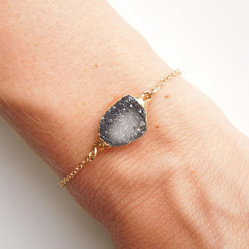 Druzy Bracelet in Black and White, OOAK Jewelry