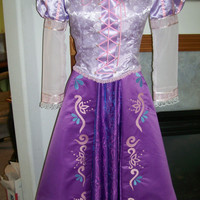 ADULT Tangled Rapunzel Custom Gown Embroidered Skirt New