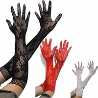 Ladies Girls  Prom Hen Fancy Lace Elbow Length Elegant Burlesque Gloves French Maid fishnet old up Lace top  satin bow